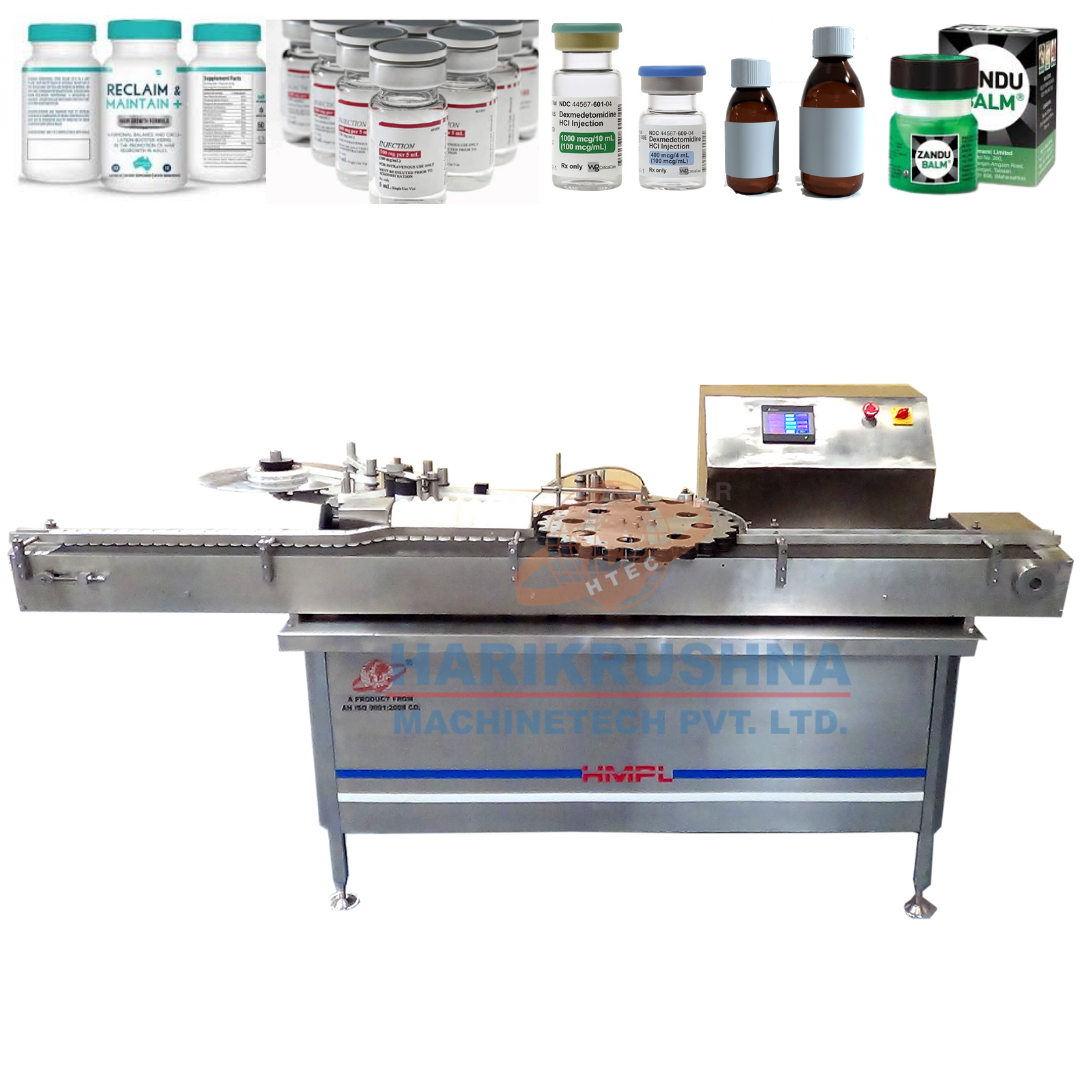 Automatic Rotary Vial / Bottle Sticker Labeling Machine