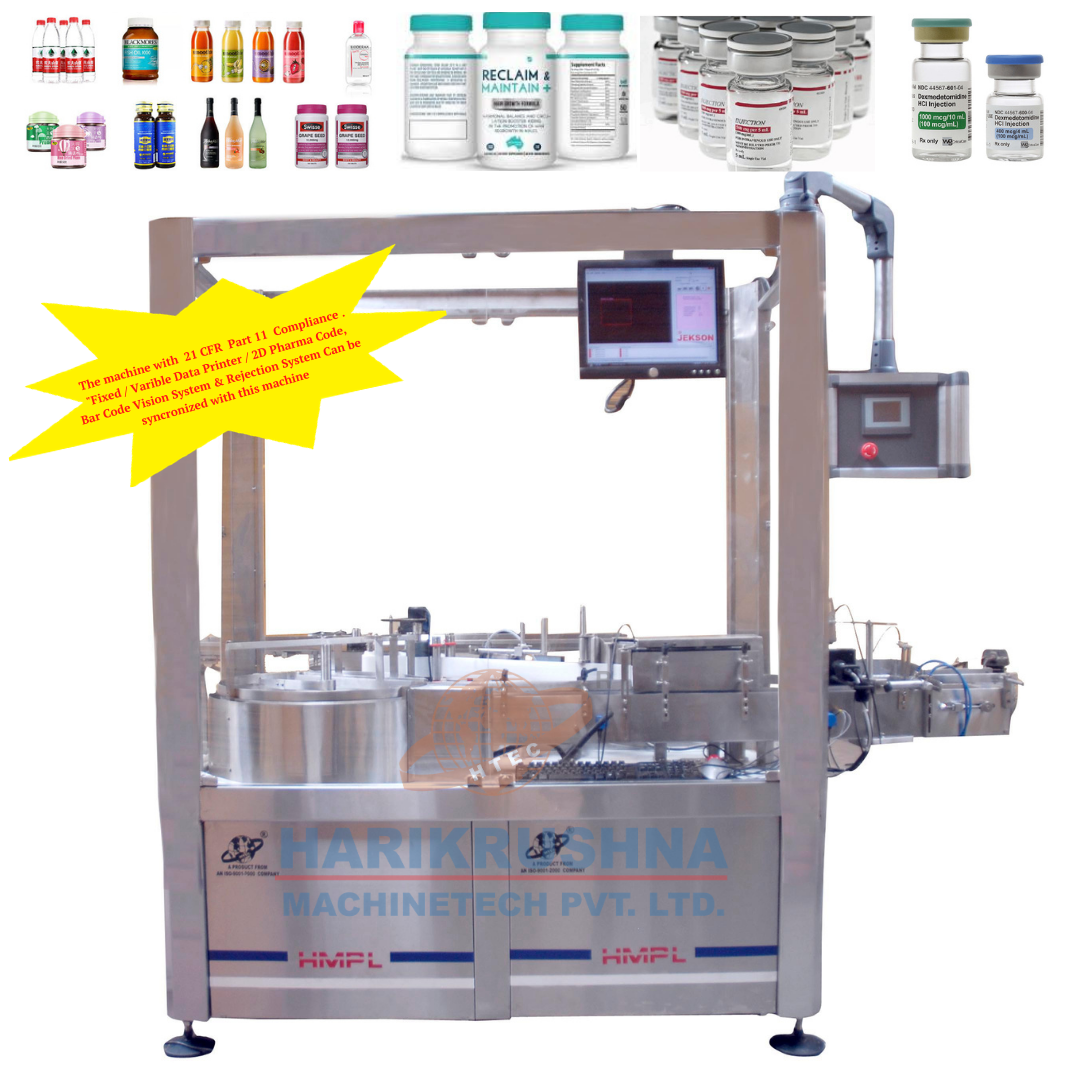 Bottle Sticker Labelling Machine - STICKER LABELING MACHINE WITH TURN TABLE - Harikrushna Machinetech