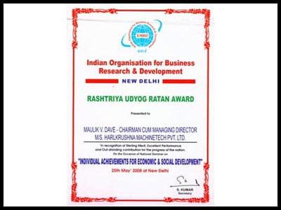 Rashtriya Udyog Ratan Award - - Harikrushna Machinetech Pvt. Ltd.